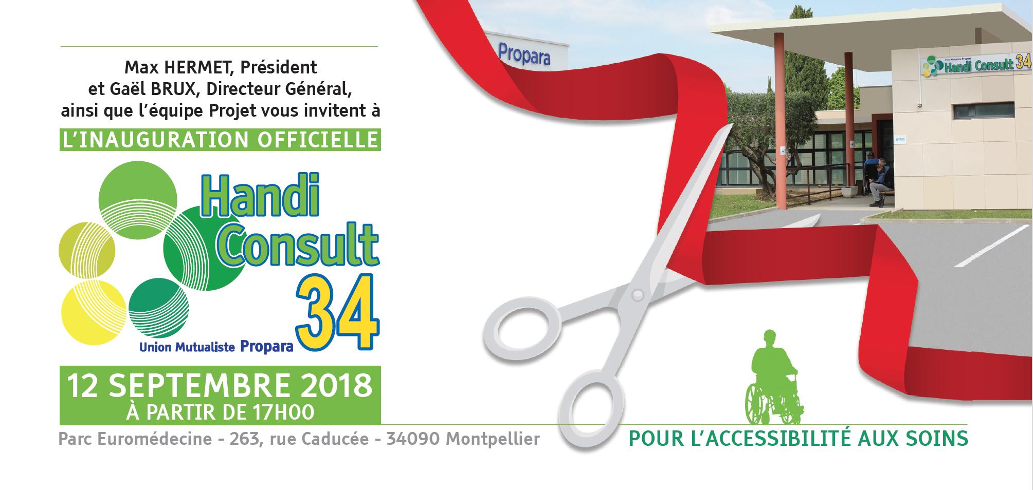Invitation ingaururation officielle Handicap Consult 34 le 12 septembre 2018 à 17h l'Union Mutualiste Propara, parc euromédecine, 263 rue Caducée, 34090 Montpellier