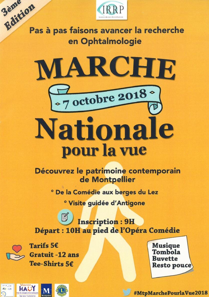 Marche nationale pour la vue le 7 octobre 2018. Inscription 9h, départ 10h au pied de l'opéra comédie. Tarifs 5 euros, gratuit pour les moins de 12 ans, t-shirt 5 euros.